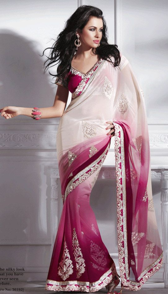 Cream and Magenta coloured Chiffon Sari by SassySaris on Etsy, $115.00