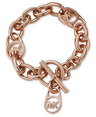 Michael Kors Rose Gold-Tone Logo Lock Toggle Bracelet ~ pinterest: @xpiink ♚