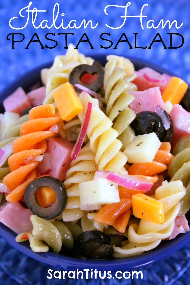 Italian Ham Pasta Salad. (Don't use cheap pasta and low-quality ham and cheese! Spring for DeCecco or Barilla pasta, a thick slice of Virginia ham from the deli, and Tillamook cheddar. You will taste the difference.)