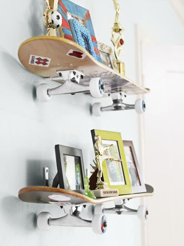 Creative Shelving Mounted with L brackets, skateboards function as playful shelves