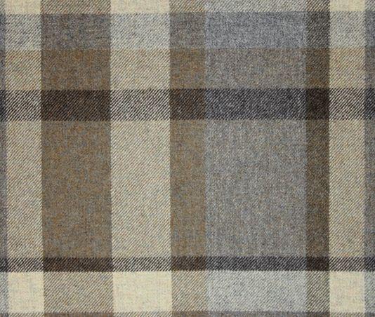 Garrick Wool Tartan Fabric A wool tartan fabric in cream, brown greys and chocolate