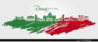 Roma Bandera Silueta del horizonte