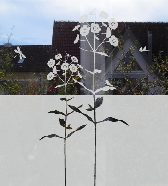 Sichtschutz Tür Fenster Folie mit Blumen, selbstklebende