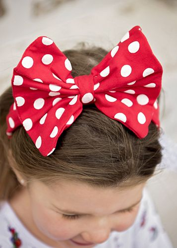 The Hair Bow Company | Red with White Polka Dots Fabric Bow Headband for Girls