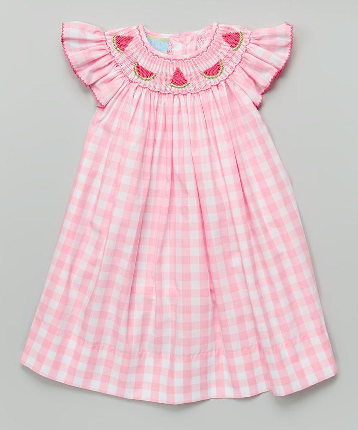 Pink Gingham Watermelon Bishop Dress