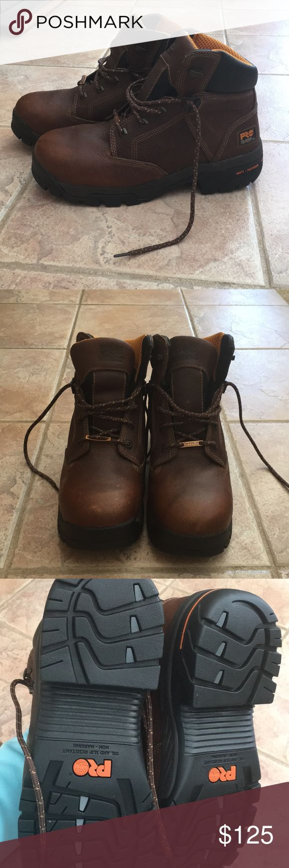 Men's Timberland Work Boots- Never Worn! Composite/safety toe work boots. Perfect for working outside or at a job. Never worn. Timberland Shoes Lace Up Boots