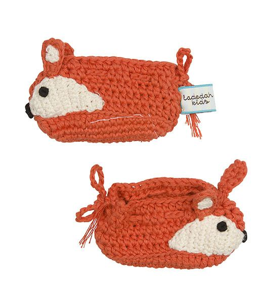 Fox hand knitted booties , $30.00 by La De Dah Kids