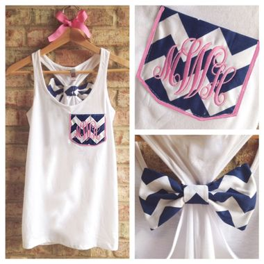 Monogrammed Chevron Pocket Bow Racerback Tank  tinytulip.com - Personalized Gifts at Great Prices - Personalized