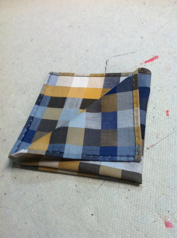 Mustard check pocket square
