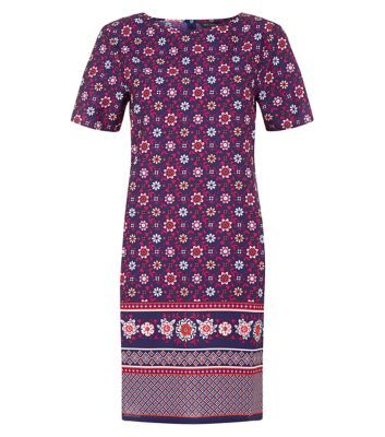 New Look: Blue Tile Border Print Tunic Dress