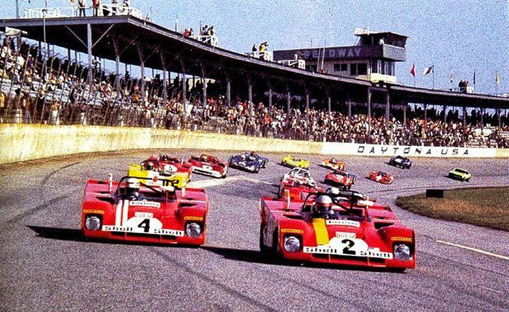 Winning Ferrari 312 PB piloted by Mario Andretti and Jacky Ickx next to the Regazoni/Redman Ferrari at the 1972  Daytona 6hrs.   #ScuderiaFerrari #RedSeason