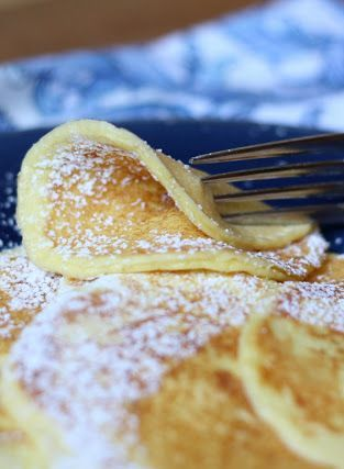 Two ingredient Cream Cheese Pancakes (cream cheese   egg).  They look delicate and delicious!.