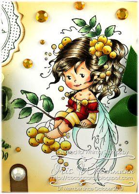 Copic colors used: Hair: E41 - E43 - E44 - E47 - E49 Skin: E000 - E00 - E11, R20 Dress: R24 - R46 - R59, YR30 - YR31 - Y26 Sprig & Berries:...