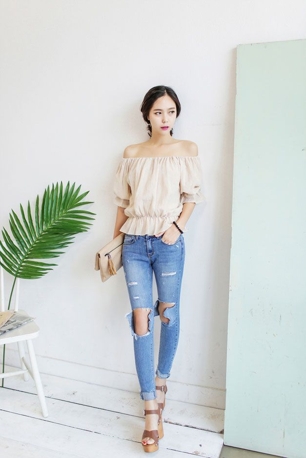 Linen Band Off Shoulder Blouse | Korean Fashion | Pinterest | Linens Shoulder And Korean Fashion