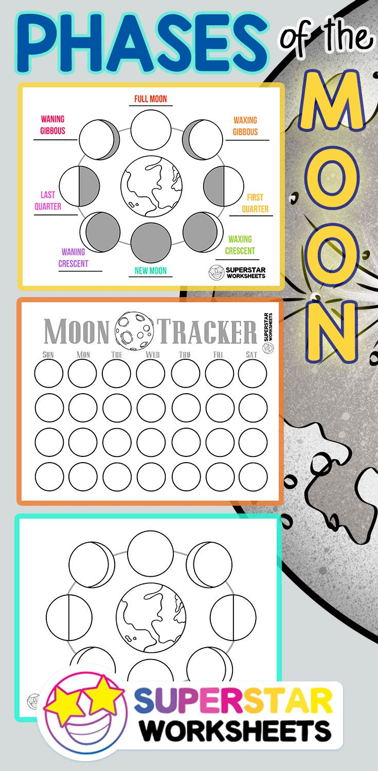 Free Moon Phases Worksheets and activities for homeschool or classroom use.  Includes free moon phases coloring pages…   Moon crafts [ 1500 x 735 Pixel ]