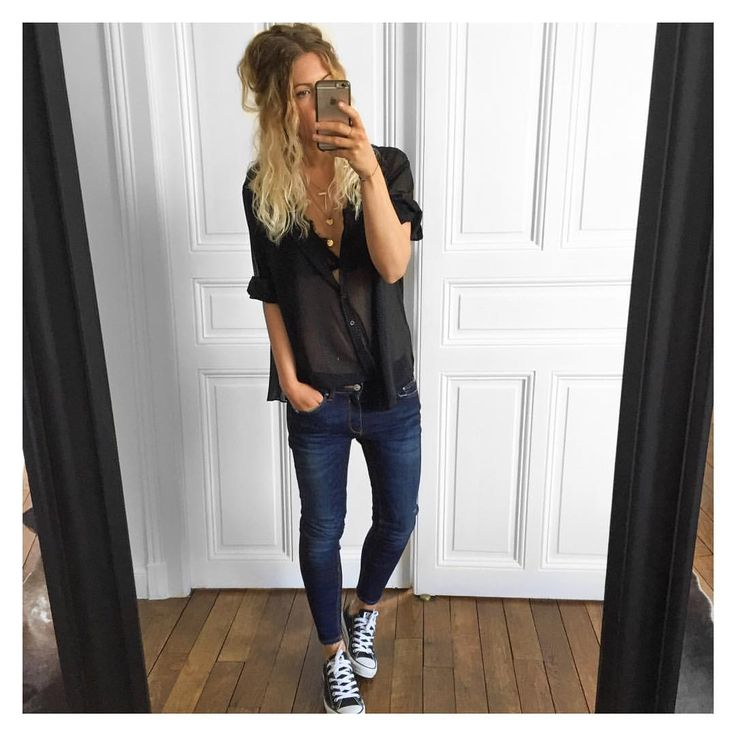 "@meleponym on Instagram: ""Chemise #margauxlonnberg (old) jean #Zara ( pantalon skinny modal 7513/040) sur @zara baskets #converse sur @converse #ootd"""