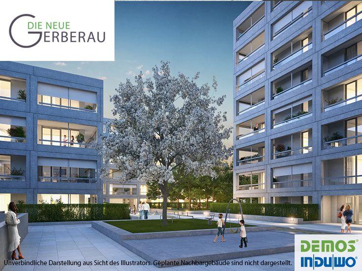 Außenillustration - DIE NEUE GERBERAU #DieNeueGerberau #Allach #München #Illustration #Visualisierung #Architektur #Neubau #Neubauprojekt #Wohnidee #Eigentumswohnungen #Wohnungen #Loggia #Terrasse #Wohnen