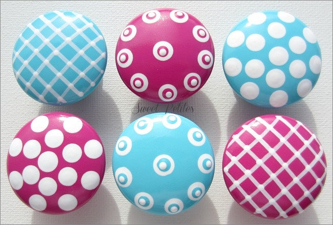 Hand Painted Knob Dresser Drawer or Nail Cover Hot Pink and Turquoise Textures. $6.00, via Etsy.