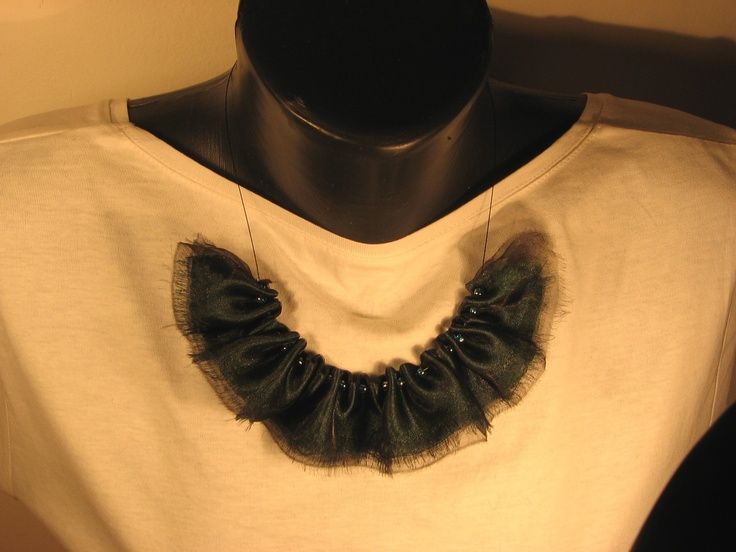 fabric mix ruffle necklace made from green satin and black organza