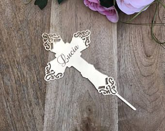 Mirror Cross Cake Topper Cake Topper Cake Decoration Personalised Cake Toppers Personalized Baptism Cake Topper Christening Topper Religious