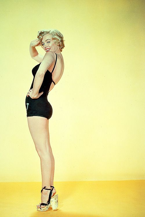 "sharontates: "" Marilyn Monroe in a promotional photo for Monkey Business (1952) """