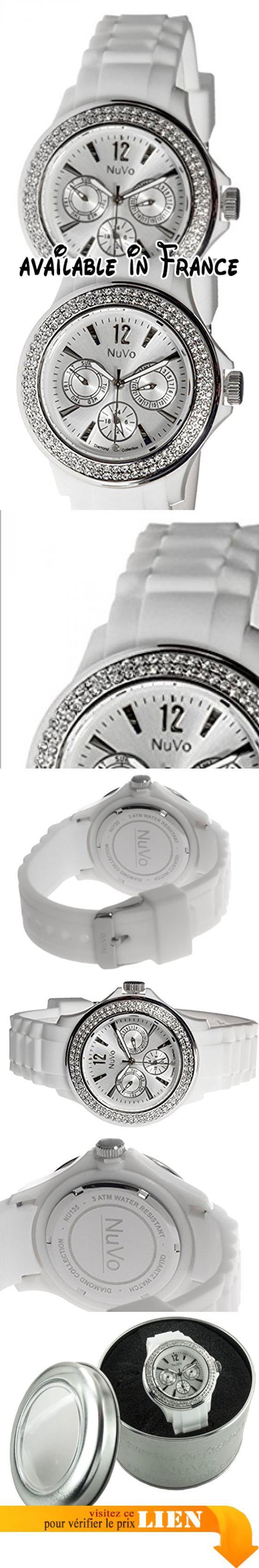 B009RGQ56G : Nuvo - NU135 - Montre Femme - Quartz - Analogique - Bracelet Silicone Blanc - Swarovski elements et diamant. Modèle obsession Diamond Collection. Type d'affichage: Analogique. Diamètre: 43 mm. Type de verre: minéral. Fonction: Jour et date. Montre en silicone blanc Trendy avec 120 éléments Swarovski. Un vrai diamant orne la position 6 de la montre. 001 carats de diamants. Bracelet en silicone confortable avec fermoir à boucle ardillon. Garantie de 2 ans