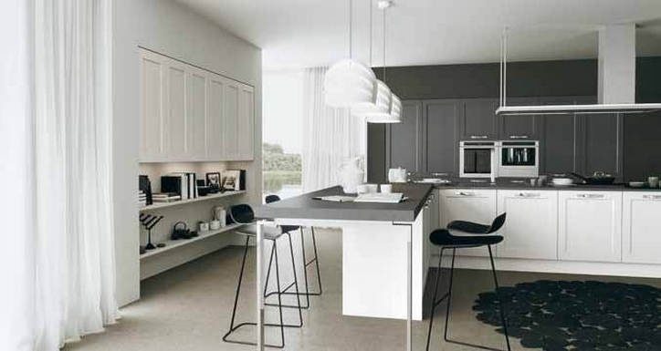 Solid wood panel doors in white and gray open pore matte finish. Village Modern by Arrital!