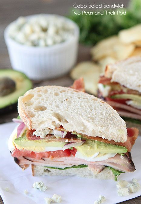 Cobb Salad Sandwich Recipe on twopeasandtheirpod.com This is a mighty sandwich!