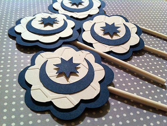 Eid Moon and star Cupcake Toppers by CraftyHijabi on Etsy, $12.00