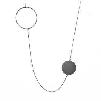 Von Lotzbeck, Globe Open/Closed Halskæde, Oxyderet, 97 cm Kæde