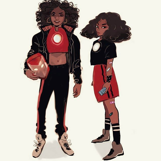 Fanart for riri williams(iron heart)  legit I'm hyped to read this comic series she is super adorable  I'm balls deep in school right now lol so I don't get to do much drawing or art in general !!! :(( #ironheart #ririwilliams #art