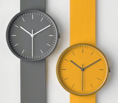 Grey and mustard // 100 series wristwatches by Uniform Wares.
