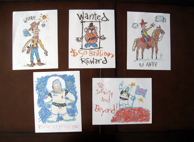 Printed Andy's Rooms Drawings As Decorations