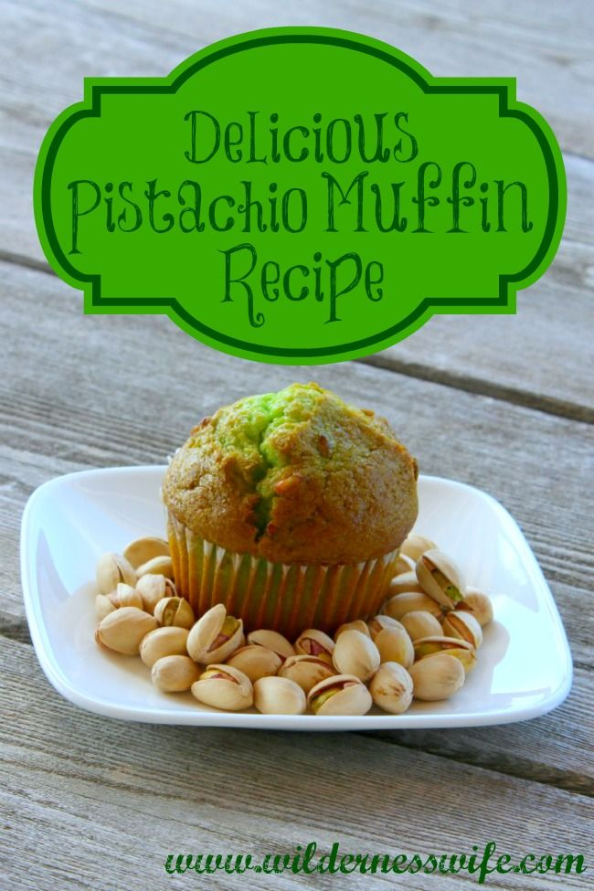 Easy Moist Pistachio Muffin Recipe - a terrific muffin recipe for  St. Patrick's Day, Earth Day, Christmas or even Mothers Day Brunch! #recipe #muffin #pistachio