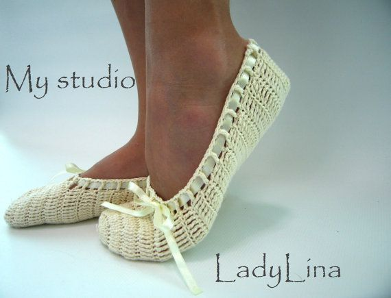 Dance Shoes, Wedding Dancing Slippers, Bridal Flats, Handmade, Cotton, Crochet Wedding Slippers on Etsy, $25.00