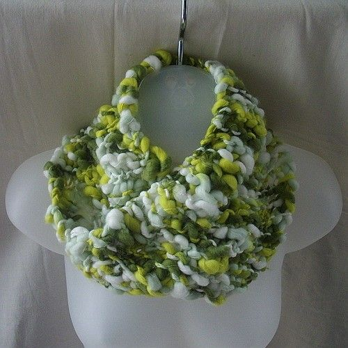 Green and white mobius neckwarmer