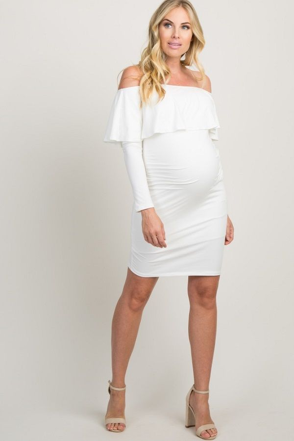 9645b6b456287 White Ruffle Trim Off Shoulder Fitted Maternity Dress - A solid hued  maternity dress featuring ruched
