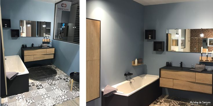 Une salle de bain moderne avec un meuble en décor chêne Québec et en laque noir soft. Son plan vasque en verre mat noir lui donne une touche résolument contemporaine. La décoration de la pièce reprend l'univers tendance industriel avec une mur bleu aigue marine et un sol en carrelage noir et blanc. Idéal pour une suite parentale. - My Lodge de Sanijura