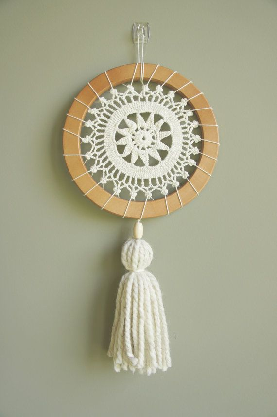 Doily Wall Hanging Neutral Decor Modern by WildflowerWhimsyGA
