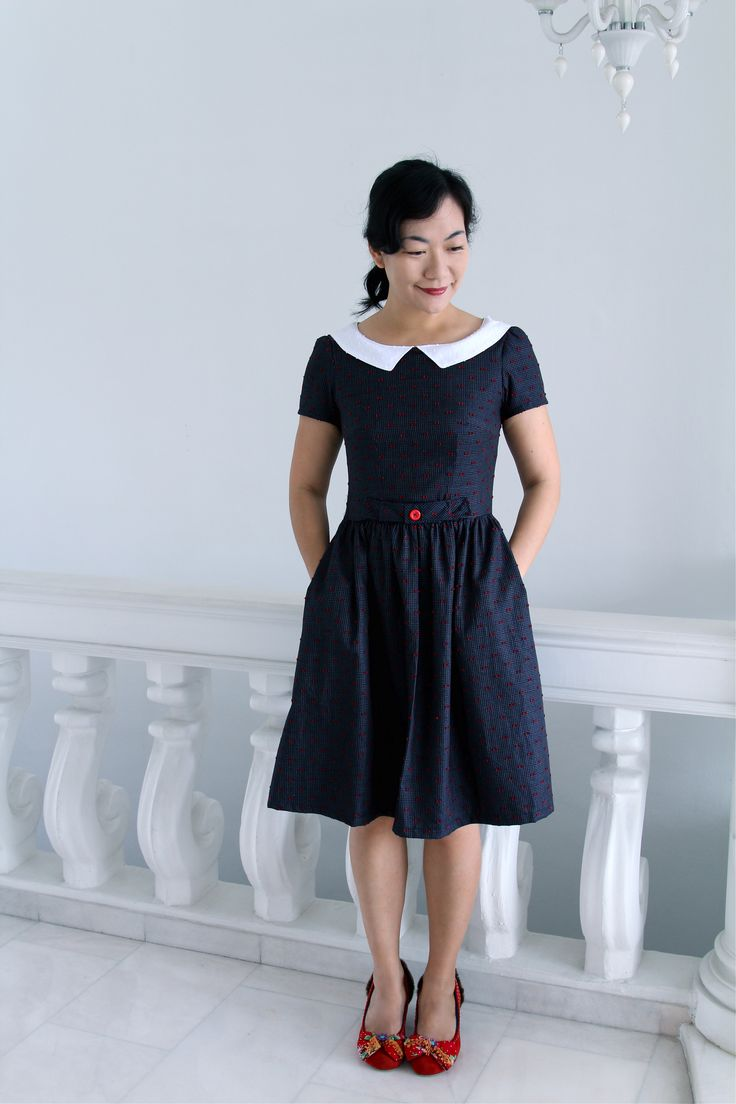 Nautical Inspired Emery Dress Pattern by Christine Haynes, available in UK from sewbox