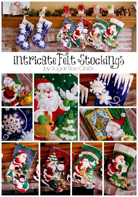 I had a stocking like this growing up!  Intricate Felt Stockings