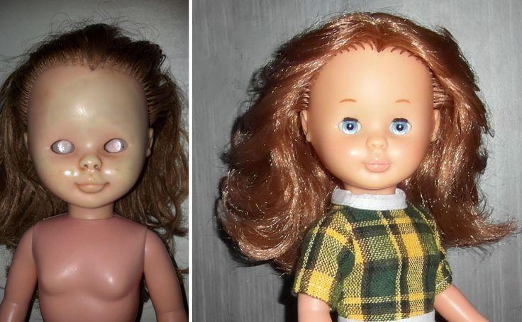 Llegó con manchas de moho, sin ojos ni maquillaje, y con el cabello en muy mal estado. _____________________________ - Decoloración completa de la carita - Remaquillado completo ( color, cejas, color en las mejillas, labios...) - Hidratación y recorte del cabello ( a fin de salvar el cabello original)