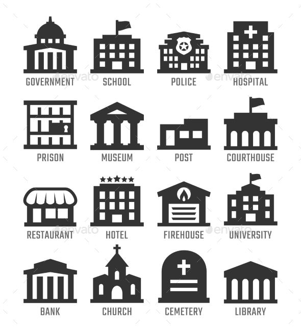 Government Buildings Set Icon Set Vector Government Logo Building Icon