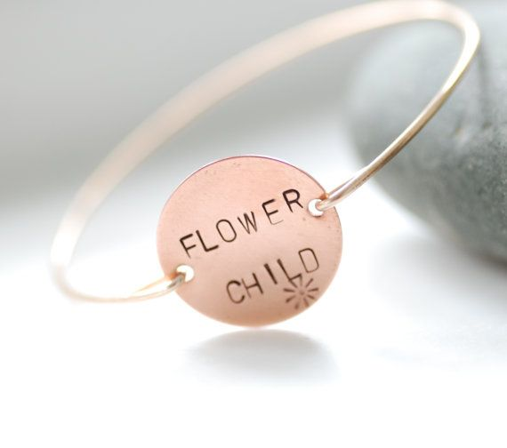 Stamped Bangle, Stamped Bracelet, Copper Jewelry, Hippie Jewelry, Brass Bangle, Minimalist, Word Jewelry, 1960's - Flower Child