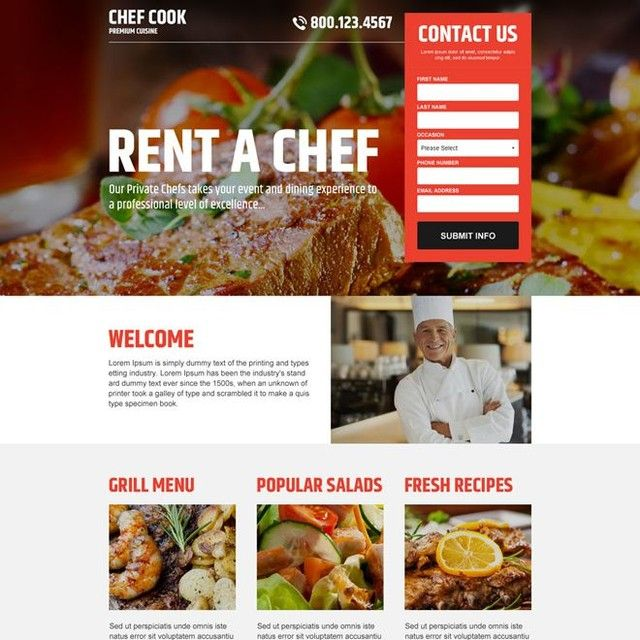 Download Positive Lead Capture The Best Private Chef Lead Generating Responsive Landing Page Design At An Affordable Price From Private Chef Landing Page Chef