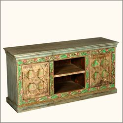8 Diamonds Hand Carved Reclaimed Wood TV Stand Media Console