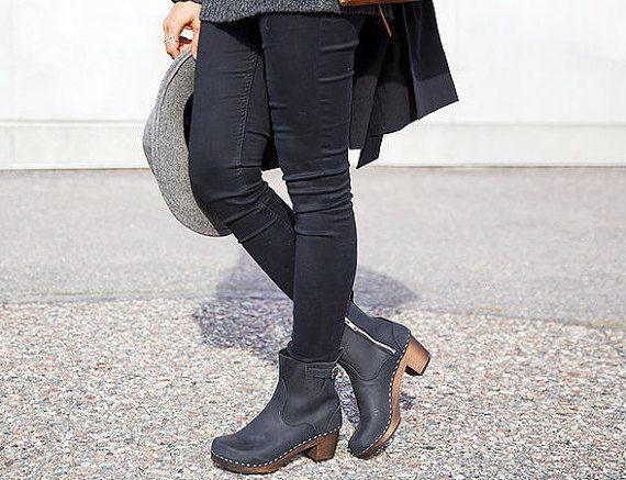 Lederen laarzen / Boots voor vrouwen / Black schoenen door Sandgrens