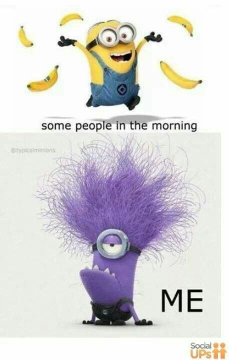 LOL!!! Most days, I'm a purple minion when I get out of bed ... but I pretty quickly start throwing bananas in the air. ;)