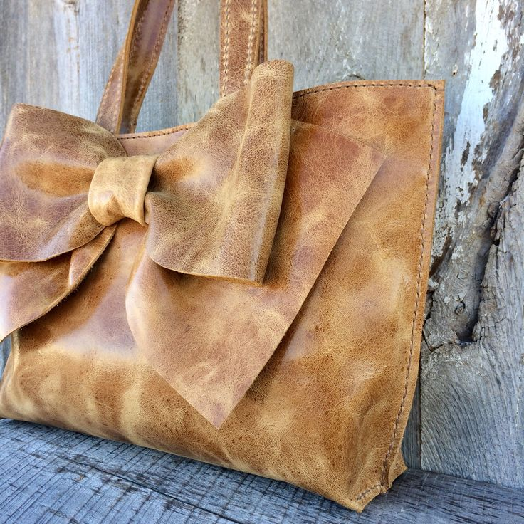 Leather Bow Bag in Distressed Honey Brown Italian Leather - Tote - Leather Bow Purse - Handmade - Artisan - Gift for Woman - by Stacy LeighPretty leather bow b