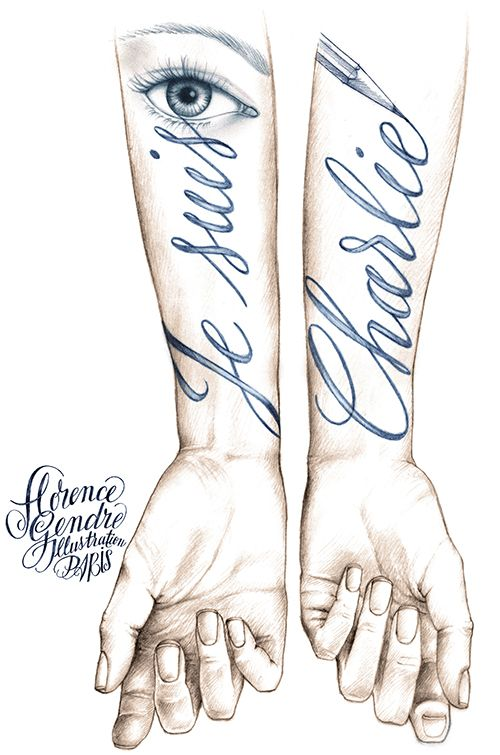 Illustration Je Suis Charlie calligraphie Tatouage Florence Gendre #illustration #Tattoo #JeSuisCharlie